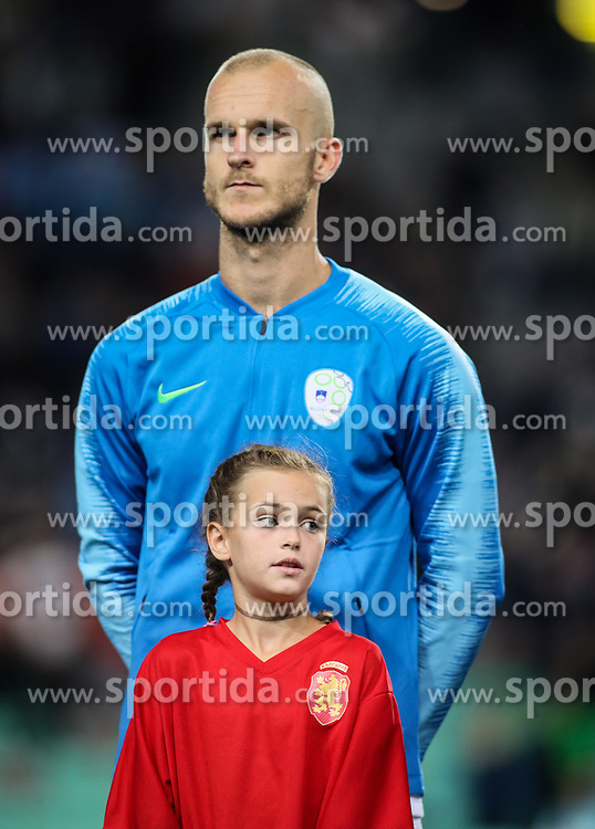 Nika Matevzic Baselj with Aljaz Struna of Slovenia prior to the football match between National Teams of Slovenia and Bulgaria in Final Tournament of UEFA Nations League 2019, on September 6, 2018 in SRC Stozice, Ljubljana, Slovenia. Photo by Morgan Kristan / Sportida