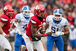 Louisville quarterback Lamar Jackson, center, threw for 281 yards and had 171 yards rushing. The University of Louisville hosted Kentucky, Saturday, Nov. 26, 2016 at Papa John's Cardinal Stadium in Louisville. Kentucky won the game 41-38.