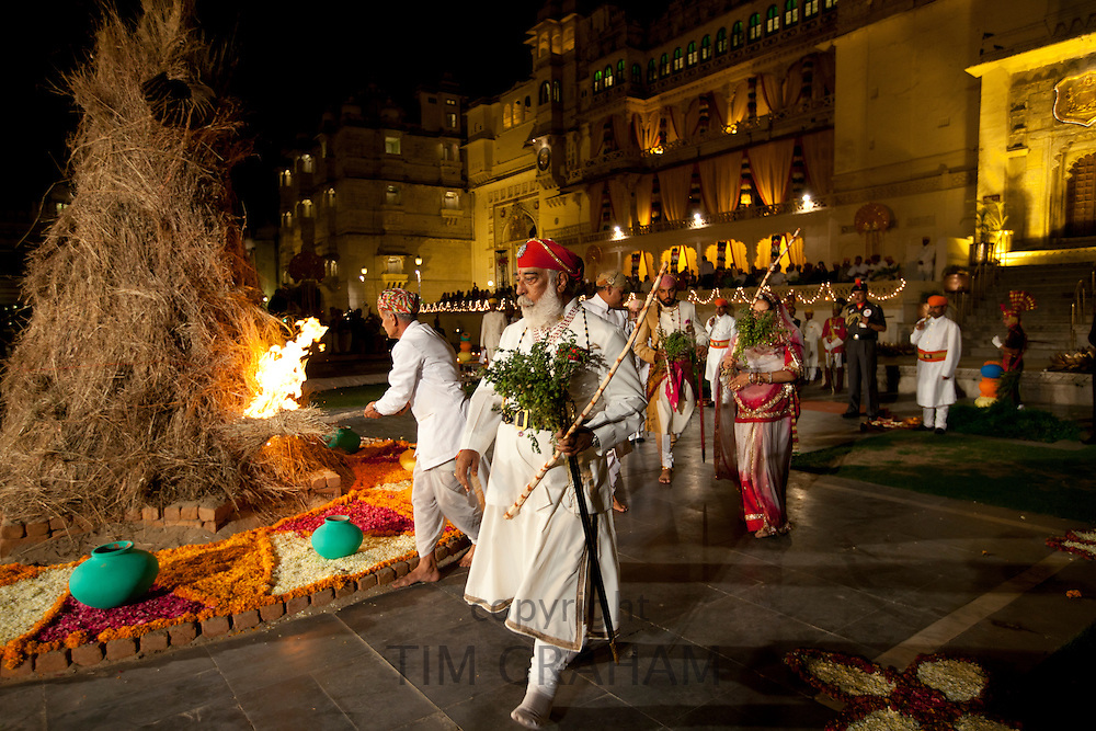 Shriji Arvind Singh Mewar of Udaipur, Custodian of House of Mewar, Hindu Holi Fire Puja at City Palace Udaipur Rajasthan India