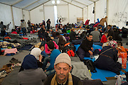 March 5, 2016 - Idomeni, Refugees in collective tent of Medecins sans Frontières housing 400 at the  Idomeni border crossing in Greece. 13,000 refugees are stuck here after Macedonia closed the border. New arrivals come in every day, making living conditions more and more difficult, so that the local government asked the emercency state was declared . (Steven Wassenaar/Polaris)