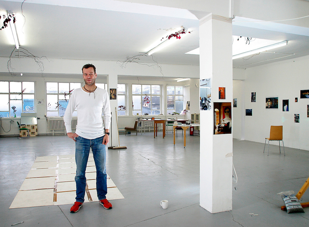 UK ENGLAND LONDON 8NOV02 - Art photographer and Turner Prize winner Wolfgang Tillmans inside his studio in Bethnal Green, East London.<br />