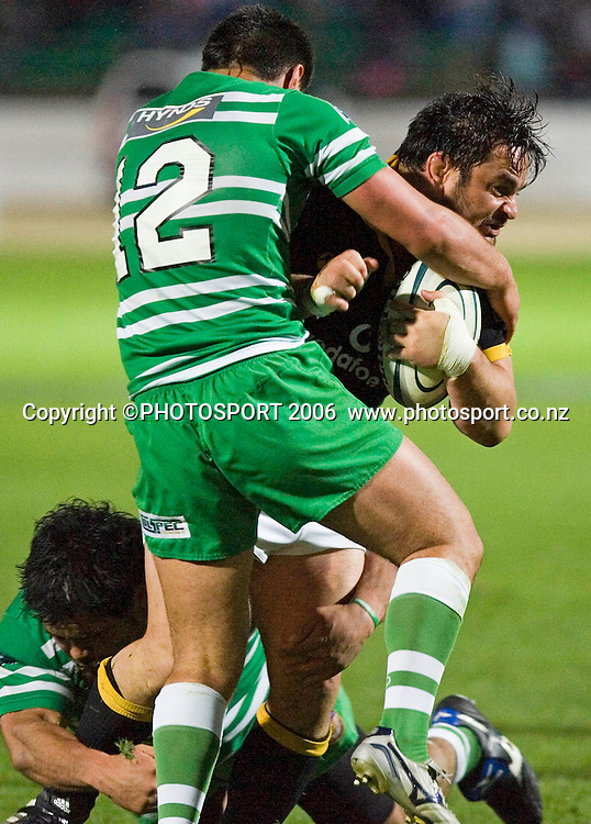 Wellington's Joe McDonnell gets tackled during the Air New Zealand Cup week 6 rugby match between Manawatu and Wellington at FMG Stadium, Palmerston North, on Saturday 2 September 2006. Wellington won 11-3.  Photo: Aaron Smale/PHOTOSPORT<br /> <br /> <br /> 020906 npc nz union