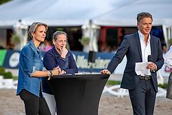 """WERTH Isabell (GER), GUTENBERG Stefanie zu, PILAWA Jörg (Moderator)<br /> Segway Rennen<br /> Charity-Showwettkampf mit Promis & Teilnehmern<br /> """"Reiten gegen Hunger""""<br /> Balve Optimum - Deutsche Meisterschaft Dressur 2020<br /> 19. September2020<br /> © www.sportfotos-lafrentz.de/Stefan Lafrentz"""