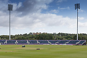 General view of the ground with Lumley Castle in the background before the Specsavers County Champ Div 2 match between Durham County Cricket Club and Leicestershire County Cricket Club at the Emirates Durham ICG Ground, Chester-le-Street, United Kingdom on 18 August 2019.