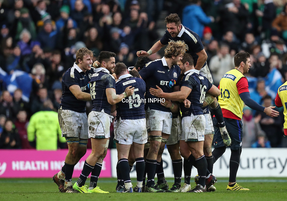 RBS 6 Nations Championship Round 1, BT Murrayfield, Scotland 4/2/2017<br /> Scotland vs Ireland<br /> The Scotland team celebrate at the final whistle<br /> Mandatory Credit &copy;INPHO/Billy Stickland