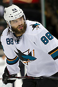 DALLAS, TX - OCTOBER 17:  Brent Burns #88 of the San Jose Sharks looks on against the Dallas Stars on October 17, 2013 at the American Airlines Center in Dallas, Texas.  (Photo by Cooper Neill/Getty Images) *** Local Caption *** Brent Burns