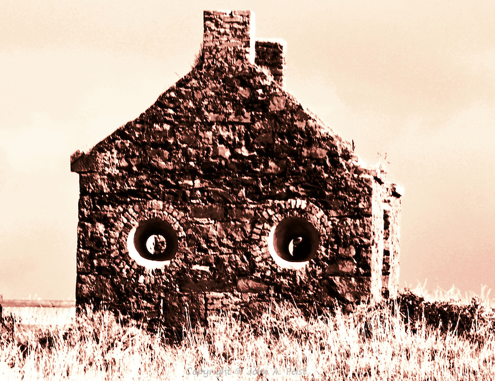 An abandoned house outside of Sligo, County Sligo, Ireland in sepia.  The configuration of the house and deep set windows gives the impression that it has a face.