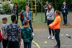 Primary school students during the launch of the SchoolVolley + project. The Dutch Volleyball Association (Nevobo) offers schools and out-of-school care free volleyball activities, to keep moving during the corona crisis on 12 May 2020 at primary school de Horizon in Hoogland