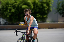 Malgorzata Jasinska returns with refreshments before Stage 5 of the Giro Rosa - a 12.7 km individual time trial, starting and finishing in Sant'Elpido A Mare on July 4, 2017, in Fermo, Italy. (Photo by Sean Robinson/Velofocus.com)