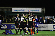 Subsequently referee Deadman shows Mark Gillespie (goalkeeper) of Carlisle United FC the red card during the Sky Bet League 2 match between AFC Wimbledon and Carlisle United at the Cherry Red Records Stadium, Kingston, England on 23 February 2016. Photo by Stuart Butcher.