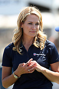 NFL Network sideline reporter Alex Flanagan looks on during the Los Angeles Rams NFL football training camp practice on Saturday, July 29, 2017 in Irvine, Calif. (©Paul Anthony Spinelli)