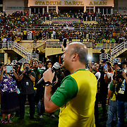 Kedah MB Datuk Seri Mukhriz Mahathir speaks to audiences meanwhile the audiences switch on their phone light at Stadium Darul Aman in Alor Setar, Kedah for a friendly match between Kedah FA and Sungai Ara FC on February 1, 2016. -The Malaysian Insider/Hasnoor Hussain