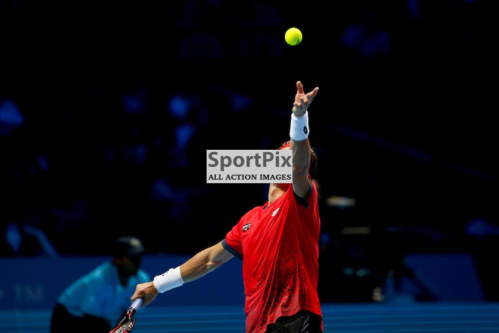 David Ferrer serves during a match between Stan Wawrinka and David Ferrer at the ATP World Tour Finals 2015 at the O2 Arena, London.  on November 18, 2015 in London, England. (Credit: SAM TODD | SportPix.org.uk)
