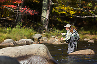 Fly fishing guide and Patagonia Ambassador, Rachel Finn nymphs the pocket water of the West Branch of the Ausable River in Wilmington, New York
