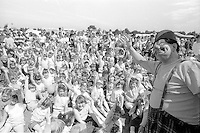 Clown Cuthbert entertains the children at the 99th Yorkshire Miners Gala. 1986 Doncaster.