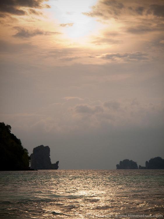 Limestone seastacks near Tonsai, Thailand.