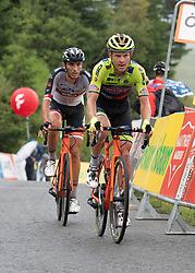 12.07.2019, Kitzbühel, AUT, Ö-Tour, Österreich Radrundfahrt, 6. Etappe, von Kitzbühel nach Kitzbüheler Horn (116,7 km), im Bild v.l. Samuele Rivi (ITA, Tirol KTM Cycling Team), Sebastian Schönberger (AUT, Neri Sottoli - Selle Italia - KTM) // f.l. Samuele Rivi of Italy (Tirol KTM Cycling Team) Sebastian Schönberger of Austria (Neri Sottoli - Selle Italia - KTM) during 6th stage from Kitzbühel to Kitzbüheler Horn (116,7 km) of the 2019 Tour of Austria. Kitzbühel, Austria on 2019/07/12. EXPA Pictures © 2019, PhotoCredit: EXPA/ Reinhard Eisenbauer