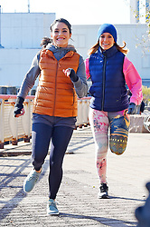 """Jennifer Lopez and Vanessa Hudgens seen jogging on the Lower East Side while filming for a """"Second act"""" movie. 27 Nov 2017 Pictured: Jennifer Lopez and Vanessa Hudgens. Photo credit: MEGA TheMegaAgency.com +1 888 505 6342"""