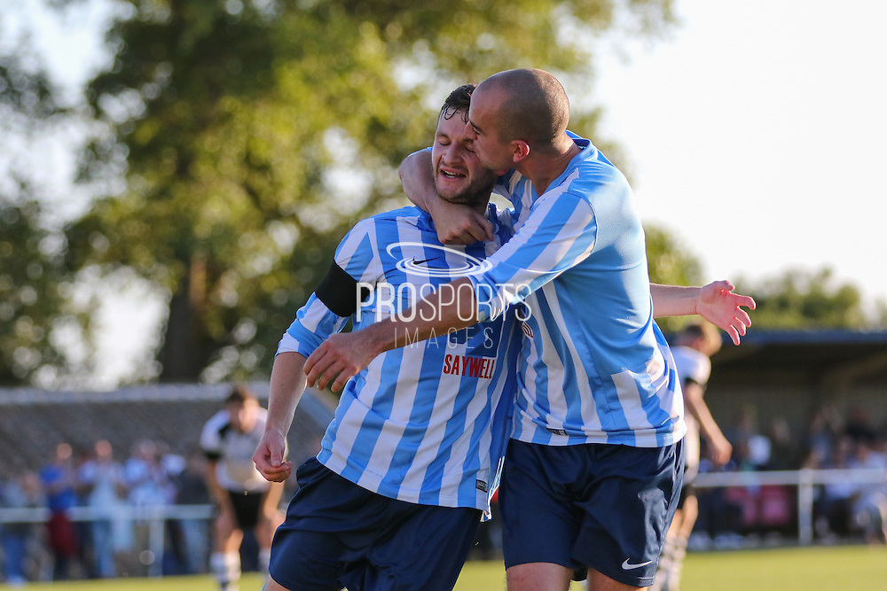 Jack Hayward of Worthing United scores to put his side 1-0 in front and celebrates with Steve May during the FA Vase 1st Qualifying Round match between Worthing United and East Preston FC at the Robert Eaton Memorial Ground, Worthing, United Kingdom on 6 September 2015. Photo by Phil Duncan.