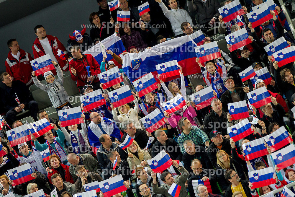 Supporters of Slovenia during ice-hockey match between Slovenia and Japan at IIHF World Championship DIV. I Group A Slovenia 2012, on April 16, 2012 in Arena Stozice, Ljubljana, Slovenia. (Photo by Vid Ponikvar / Sportida.com)