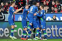 Fotball <br /> Tyskland<br /> 14.02.2015<br /> Foto: Witters/Digitalsport<br /> NORWAY ONLY<br /> <br /> 0:2 Jubel v.l. Robin Knoche, Andre Schuerrle, Vieirinha, Naldo, Daniel Caligiuri, Bas Dost, Maximilian Arnold (Wolfsburg)<br /> Fussball Bundesliga, Bayer 04 Leverkusen - VfL Wolfsburg