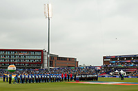 Cricket - 2019 ICC Cricket World Cup - 1st Semi-final - India vs New Zealand<br /> <br /> Teams line up for the anthems at Old Trafford.<br /> <br /> COLORSPORT/ASHLEY WESTERN