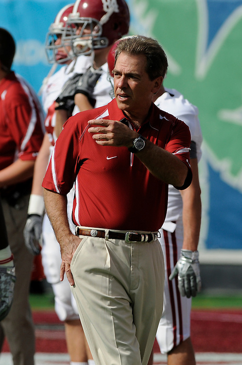 January 1, 2011: Head coach Nick Saban of the Alabama Crimson Tide in action during the NCAA football game between Michigan State Spartans and the Alabama Crimson Tide at the 2011 Capital One Bowl in Orlando, Florida. Alabama defeated Michigan State 49-7.