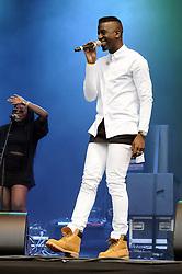 © Licensed to London News Pictures. 16/07/2015<br /> Rochester Castle Concerts,Rochester,Kent<br /> Jermain Jackman singing.<br /> (Byline:Grant Falvey/LNP)