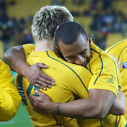 "Will Genia, Australia, (facing) celebrates with James O""Connor after Australia's victory during the South Africa V Australia Quarter Final match at the IRB Rugby World Cup tournament. Wellington Regional Stadium, Wellington, New Zealand, 9th October 2011. Photo Tim Clayton..."
