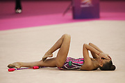 Arina Averina, Russia, after her Gold Medal winning club routine during the 33rd European Rhythmic Gymnastics Championships at Papp Laszlo Budapest Sports Arena, Budapest, Hungary on 21 May 2017. She wins ahead of twin Dina who takes silver. Photo by Myriam Cawston.