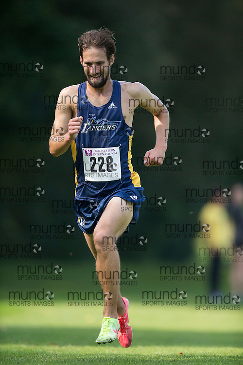 Jordan Collison of the Windsor Lancers runs at the 2014 Western International Cross country meet in London Ontario, Saturday,  September 20, 2014.<br /> Mundo Sport Images/ Geoff Robins