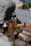 A sculpture contructed of rusted pieces of metal pipe is located in Brooklyn Bridge Park, in the DUMBO area of Brooklyn, New York City.