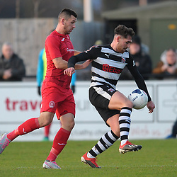 TELFORD COPYRIGHT MIKE SHERIDAN Aaron Williams of Telford battles for the ball with Ben Headley during the Vanarama Conference North fixture between Darlington and AFC Telford United at Blackwell Meadows on Saturday, November 30, 2019.<br /> <br /> Picture credit: Mike Sheridan/Ultrapress<br /> <br /> MS201920-032