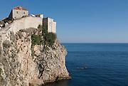 Town-wall of Dubrovnik at coast to Adriatic Sea.. Croatia. Eastern Europe.