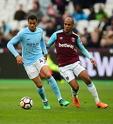 Lukas Nmecha of Manchester City Battles for the ball with Joao Mario of West Ham United - Mandatory by-line: Alex James/JMP - 29/04/2018 - FOOTBALL - London Stadium - London, England - West Ham United v Manchester City - Premier League