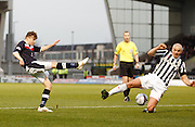 St Mirren's Jim Goodwin blocks Dundee's Nicky Riley's effort - St Mirren v Dundee, Clydesdale Bank Scottish Premier League at St Mirren Park.. - © David Young - www.davidyoungphoto.co.uk - email: davidyoungphoto@gmail.com