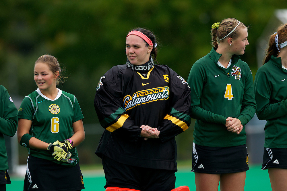 Catamounts goalie Stephanie Zygmunt (5), Catamounts forward Taylor Silvestro (6) and Catamounts midfielder Molly Higgins (4) during player introductions before the start of the women's field hockey game between the Maine Black Bears and the Vermont Catamounts at Moulton/Winder Field on Saturday afternoon September 29, 2012 in Burlington, Vermont.