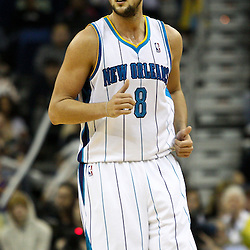 March 30, 2011; New Orleans, LA, USA; New Orleans Hornets shooting guard Marco Belinelli (8) against the Portland Trail Blazers during the first half at the New Orleans Arena.    Mandatory Credit: Derick E. Hingle
