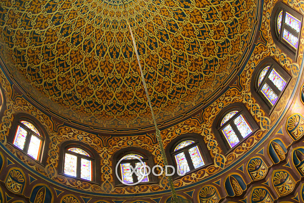 Ornate dome decoration in Al-Azhar mosque, Cairo, Egypt (December 2007)