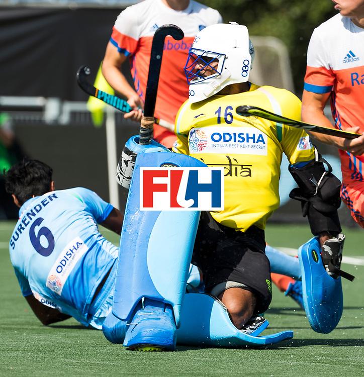 BREDA -  keeper Sreejesh Parattu (Ind.) tijdens Nederland- India bij  de Hockey Champions Trophy.  COPYRIGHT KOEN SUYK