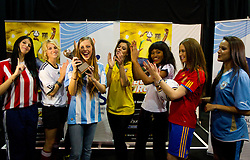 Miss Paraguay - Tamara Sosa-Zapattini, Germany - Maike Frohlingsdorf, Argentina -Mae Screlkove, Brazil- Luciana Reis, Ghana - Mimi Areme, Spain - Laura Garcia-Fernandez and Uruguay - Eliana Oliveria- Gonnet at Miss World contestants from the quarter finals FIFA World Cup 2010 at AIPS glamour event on June 30, 2010 at Nelson Mandela Square in Sandton Convention Centre in Johannesburg. (Photo by Vid Ponikvar / Sportida)