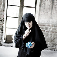 Nun in the monastery of Gracanica serb enclave protected by KFOR