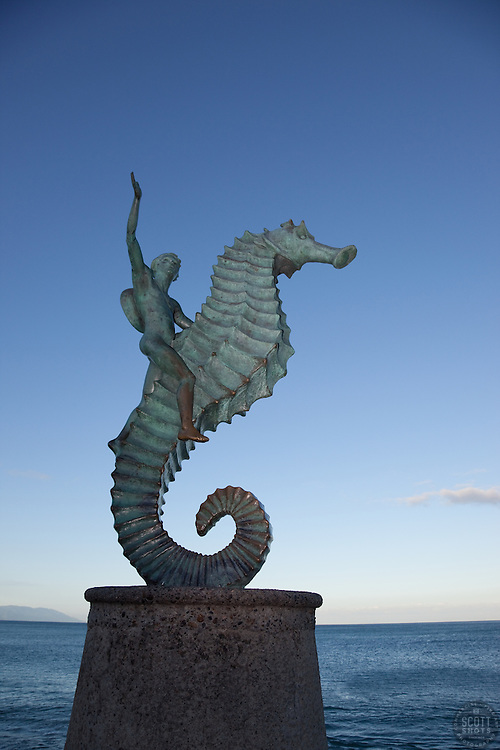 """""""The Seahorse, Puerto Vallarta 1"""" - This boy on a seahorse statue was photographed at the Malecon in Puerto Vallarta, Mexico."""