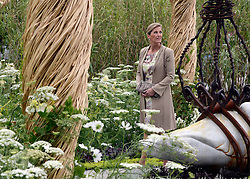 "© Licensed to London News Pictures. 02/07/2012. East Molesey, UK HRH Sophie Countess of Wessex in Bournemouth Borough Council's "" A Very Victorian fancy"" garden . The RHS Hampton Court Palace Flower Show 2012. The show runs 3-8 July, 2012. Photo credit : Stephen Simpson/LNP"