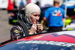 ROSEBURG, OR - AUGUST 27: Julia Landauer driver of the #54 Toyota Racing Toyota stands next to her car during practice for the NASCAR K&N Pro Series West Toyota/NAPA Auto Parts 150 at the Douglas County Speedway on August 27, 2016 in Roseburg, Oregon. (Photo by Jason O. Watson/NASCAR via Getty Images) *** Local Caption *** Julia Landauer
