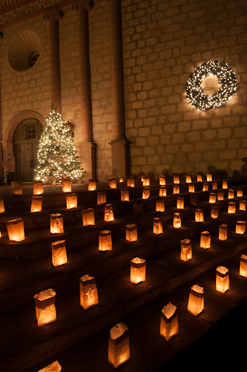 Historic Santa Barbara Mission at Christmas