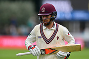 Jack Leach of Somerset during the Specsavers County Champ Div 1 match between Somerset County Cricket Club and Middlesex County Cricket Club at the Cooper Associates County Ground, Taunton, United Kingdom on 27 September 2017. Photo by Graham Hunt.