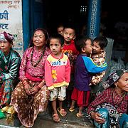 Nepal 2014. Manibanjan. Market day.Women and children