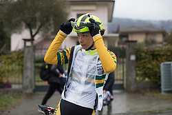 Shannon Malseed (AUS) of Tibco-Silicon Valley Bank Cycling Team finishes the Trofeo Alfredo Binda - a 131,1 km road race, between Taino and Cittiglio on March 18, 2018, in Varese, Italy. (Photo by Balint Hamvas/Velofocus.com)
