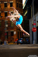 Grand Jete on the Streets of New York. Dance As Art Photography Project- Dumbo Brooklyn, New York with dancer, Erika Citrin.